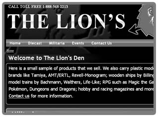 Thumbnail of The Lion's Den web site