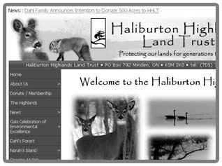 Thumbnail of Haliburton Highlands Land Trust web site